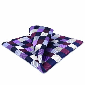 """S&W Shlax&Wing Shlax&Wing Checkered Pocket Square For Men Multicolor Hanky 12.6"""" Large Size"""