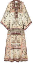 Camilla The Long Way Home Embellished Printed Silk Crepe De Chine Maxi Dress - Cream