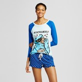 Sesame Street Women's Cookie Monster Long Sleeve Tee/Boxer Pajama Set
