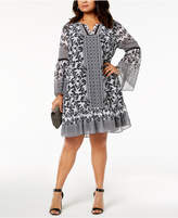 INC International Concepts I.N.C. Plus Size Bell-Sleeve Dress, Created for Macy's
