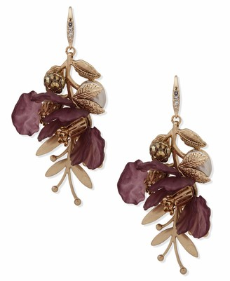 lonna & lilly Flower Drop Earrings Gold And Burgundy