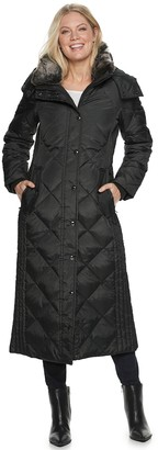 London Fog Women's TOWER by Hooded Quilted Puffer Down Maxi Coat