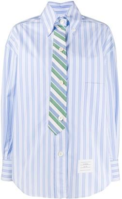 Thom Browne Tie Effect Cotton Stripe Shirt