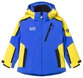 Armani Junior Blue and Yellow Klingler Colour Block Ski Jacket