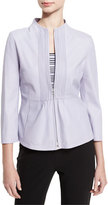 Armani Collezioni Pintucked Zip-Front Jacket, Lilac
