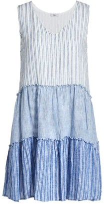 Rails Melodie V-Neck Mixed-Stripe Tiered Dress