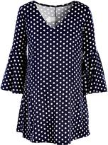 Glam Navy & White Polka Dot Maternity Bell-Sleeve Tunic