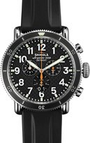 Shinola 48mm Runwell Sport Chronograph Watch with Rubber Strap, Black