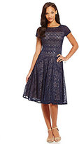 Sangria Illusion Sequin Lace Fit-and-Flare Midi Dress