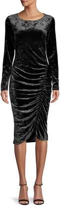 Lori Michaels Long-Sleeve Ruched Crushed Velvet Dress