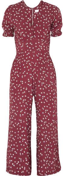Faithfull The Brand Bonnie Floral-print Crepe Jumpsuit - Claret