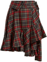 Junya Watanabe Tartan-checked ruffled-hem wool skirt