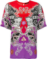 Roberto Cavalli printed colour block blouse