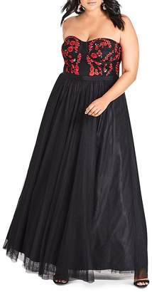 City Chic Plus Embroidered Strapless Bustier Gown