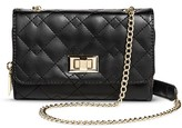 Mossimo Women's Quilted Crossbody Faux Leather Handbag Turnlock Clasp Black