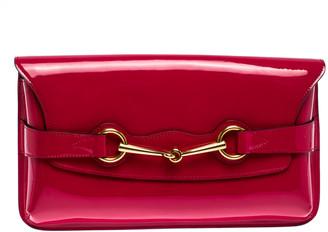 Gucci Fuchsia Patent Leather Horsebit Clutch
