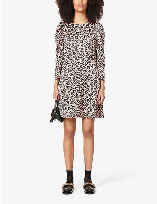 Claudie Pierlot Reyna leopard-print satin-crepe mini dress