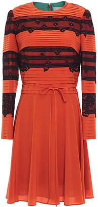 Valentino Lace-paneled Pintucked Silk-crepe Mini Dress