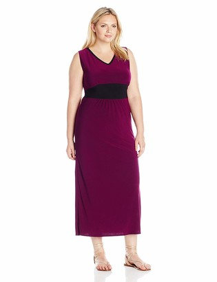 Star Vixen Women's Plus-Size Sleeveless Inset Waist and V-Neck Outlined Ity Maxi Dress