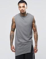 Asos Longline Sleeveless T-Shirt With Asymmetric Spilt Hem And Distress