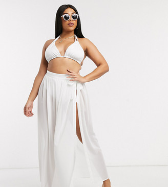 ASOS DESIGN curve recycled tie side maxi chiffon beach sarong in white