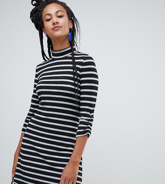 Esprit high neck stripe dress in black and white