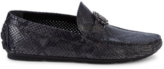 Roberto Cavalli Firenze Snakeskin-Embossed Leather Driving Loafers