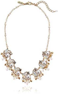 Badgley Mischka Pearl and Stone Shaky Frontal Necklace