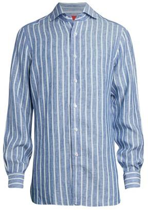 Isaia Striped Linen Sport Shirt