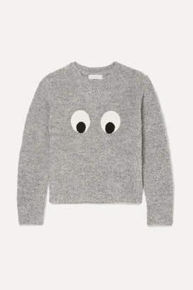Stella McCartney Appliqued Boucle Sweater - Gray