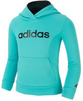 adidas Turquoise 'Adidas' Pullover Hoodie - Toddler & Girls