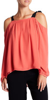 Nicole Miller Silk Tie Cold Shoulder Blouse