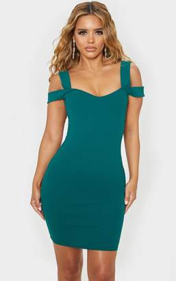 PrettyLittleThing Petite Emerald Green Strappy Bardot Midi Dress