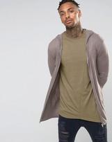 Asos Longline Knitted Zip Up Hoodie in Brown