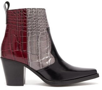 Ganni Callie Crocodile-effect Leather Ankle Boots - Womens - Black Multi