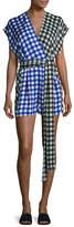 Diane von Furstenberg Short-Sleeve Silk Wrap Romper, Multi