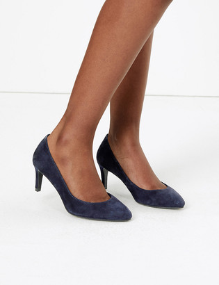 Marks and Spencer Wide Fit Suede Stiletto Heel Court Shoes
