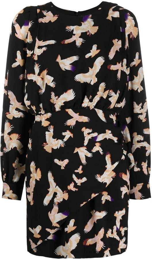 Lala Berlin Gathered Bird Print Dress