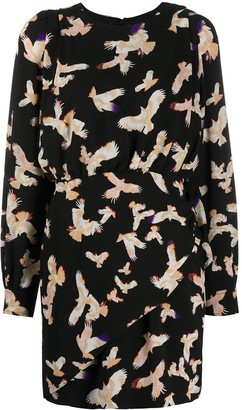 Lala Berlin Gathered Bird Print Dress
