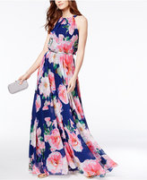 INC International Concepts Petite Floral-Print Halter Maxi Dress, Only at Macy's