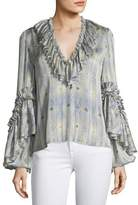 Alexis Zahara V-Neck Ruffled Printed Blouse