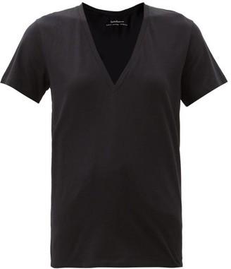 Another Tomorrow - V-neck Organic-cotton T-shirt - Black
