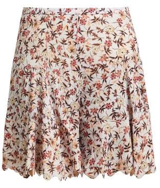 Chloé Floral Print Scallop Edge Tiered Georgette Shorts - Womens - Grey Print
