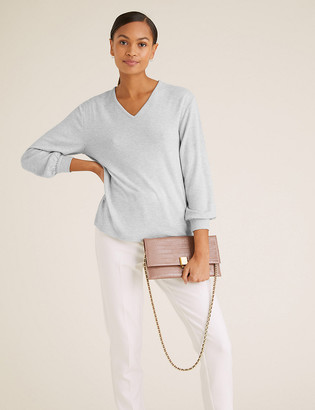 Marks and Spencer Sparkly V-Neck Long Sleeve Top