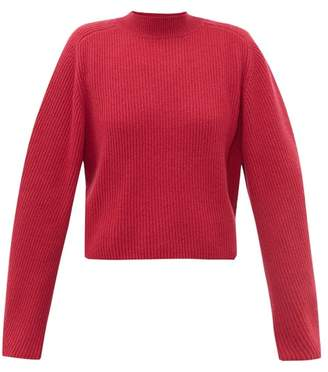 Chloé Ribbed-knit Wool-blend Sweater - Womens - Dark Pink