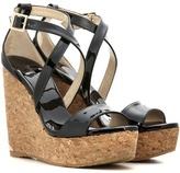 Jimmy Choo Portia 120 Patent Leather Wedge Sandals