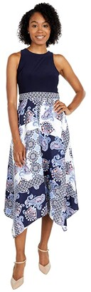 Vince Camuto Printed Crepe De Chine and Jersey Twofer Midi with Handkerchief Hem (Ivory/Navy) Women's Dress
