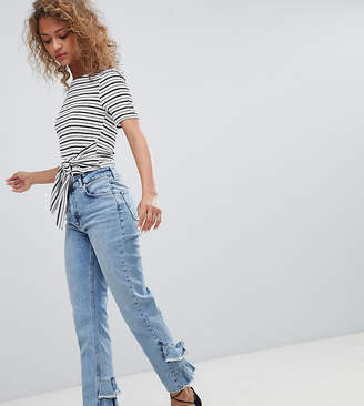 Miss Selfridge Ruffle Back Straight Leg Jeans-Blue