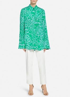 St. John Floral Markings Silk Shirt Collar Blouse