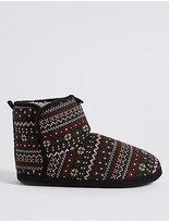 M&S Collection Fairisle Slipper Boots with FreshfeetTM